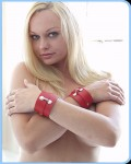 Wrist Cuffs Leather Red