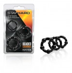 Stay Hard Beaded Cockrings 3pc Black