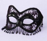 Mask Venetian Black Lace W/beads